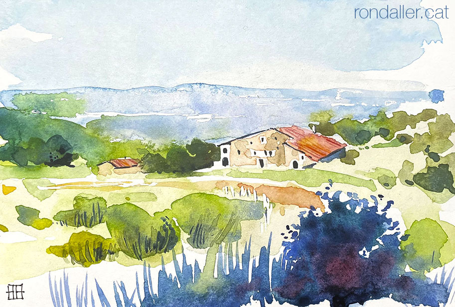 Aquarel·la amb una panoràmica de la casa museu de ca l'Agustí al Pla de la Calma del Montseny.