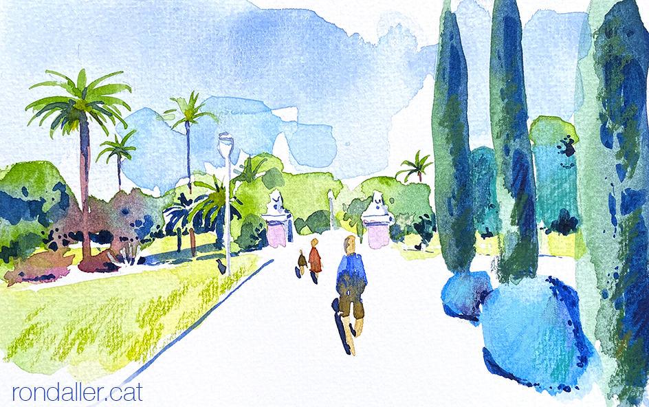 Aquarel·la del Parc de Torreblanca a Sant Feliu de Llobregat.