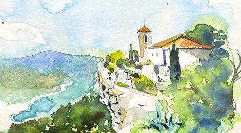 Aquarel·la de l'església de Santa Maria de Siurana, dins el terme de Cornudella de Montsant, al Priorat.