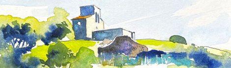 Aquarel·la de l'església de Santa Maria de Tagamanent, al Vallès Oriental.