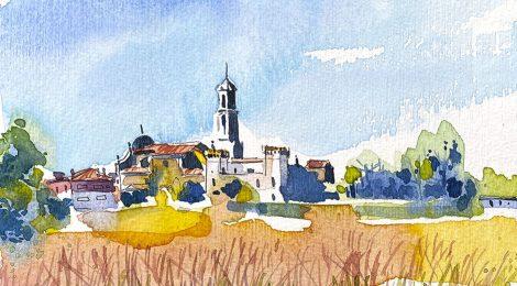 Aquarel·la de Viloví d'Onyar, població pertanyent a la comarca de La Selva.