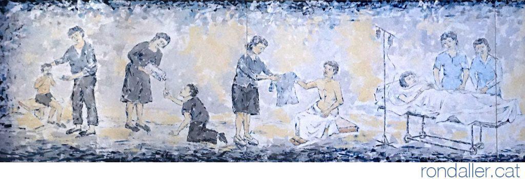Pintures murals a l'interior de l'església, representant les obres de Misericòrdia.