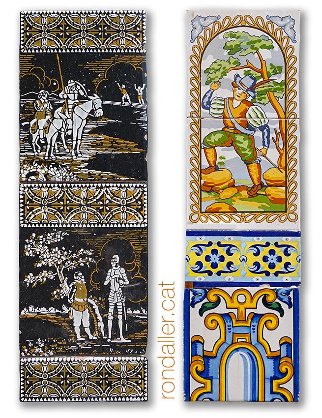 Brancals ceràmics amb escenes del Quixot i motius populars.