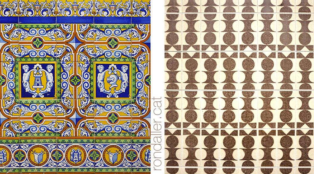 Decoracions ceràmiques d'estils molt diferents en dues façanes.