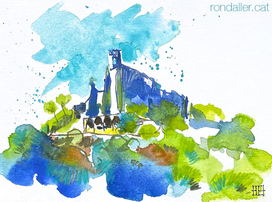 Aquarel·la de la vila medieval de Montfalcó Murallat.