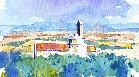Aquarel·la de l'església romànica de Sant Miquel dins el jaciment d'Olèrdola.