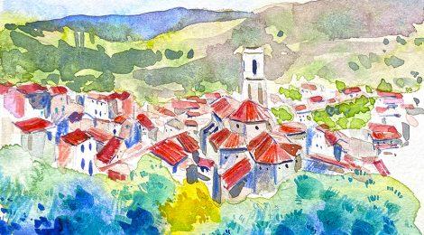 Aquarel·la de la població de Porrera, a la comarca del Priorat.