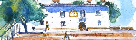 Aquarel·la de l'ermita de la Muntanyeta dels Sants a Sueca.