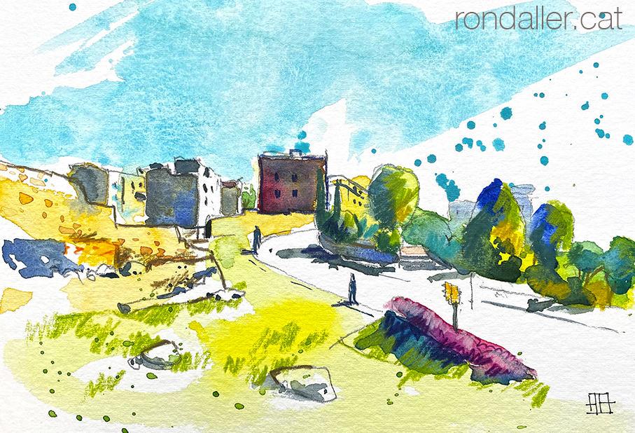 Aquarel·la amb una panoràmica de la zona arqueològica de Tarragona, amb el Castell del Rei.