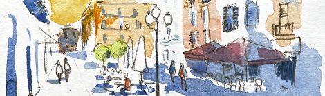 Aquarel·la de la plaça de les Cols de Vilanova i la Geltrú.