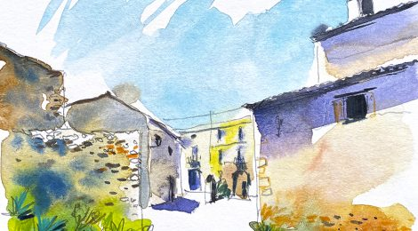Aquarel·la de Vilardida, a la comarca de l'Alt Camp.