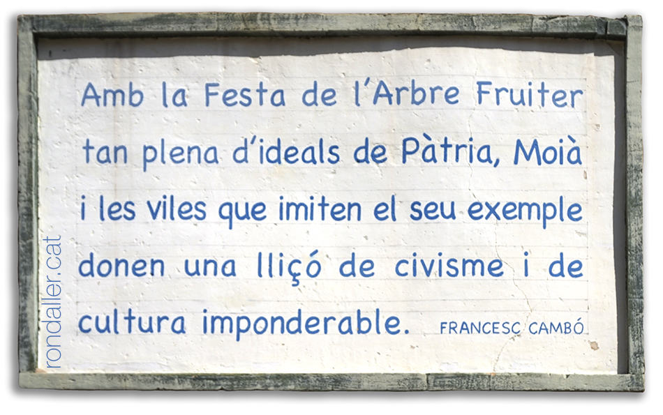 Dedicatòria de Francesc Cambó a la Festa de l'Arbre Fruiter de Moià.