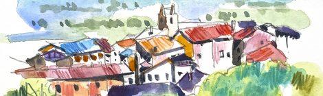 Aquarel·la amb una panoràmica de la vila d'Alàs a l'Alt Urgell.