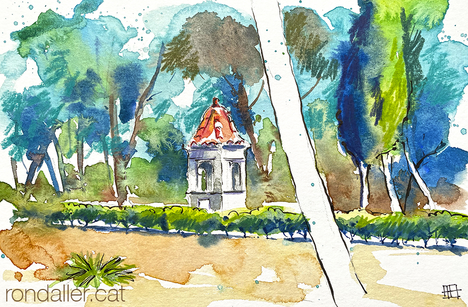 Aquarel·la del calvari de Bétera a l'Horta Nord de València.