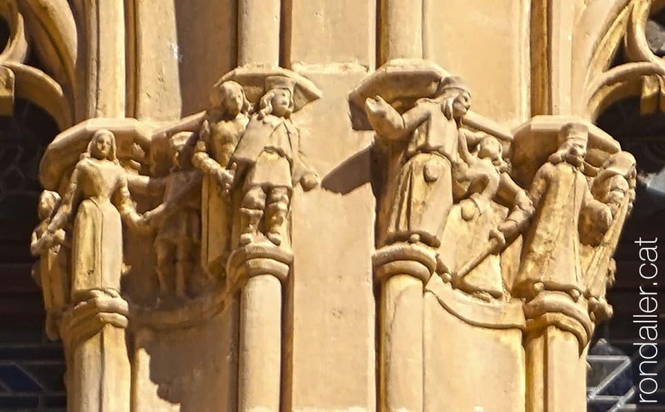 Repertori de figures neomedievals esculpides a les finestres del castell de Vila-seca.