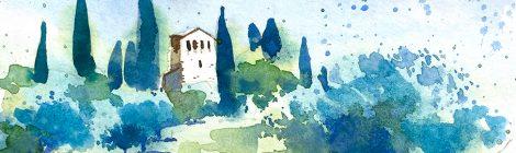 Aquarel·la de l'església de Santa Maria de Llerona, al Vallès Oriental.