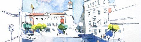 Aquarel·la de la plaça del País Valencià de Quart de Poblet, amb l'edifici de l'Ajuntament.