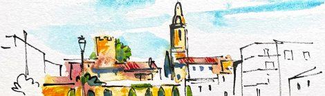 Aquarel·la del campanar de Jujol a Creixell des de la plaça del carrer del Raval.