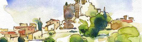Aquarel·la amb una panoràmica del castell de la Santa Creu de Calafell al Baix Penedès.