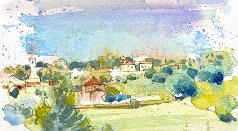 Aquarel·la de Canovelles, amb l'església romànica de Sant Fèlix al fons.