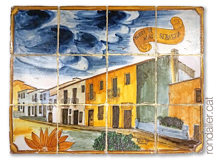12 llocs d'Argentona. Mural ceràmic amb una vista del barri de Sant Sebastià.