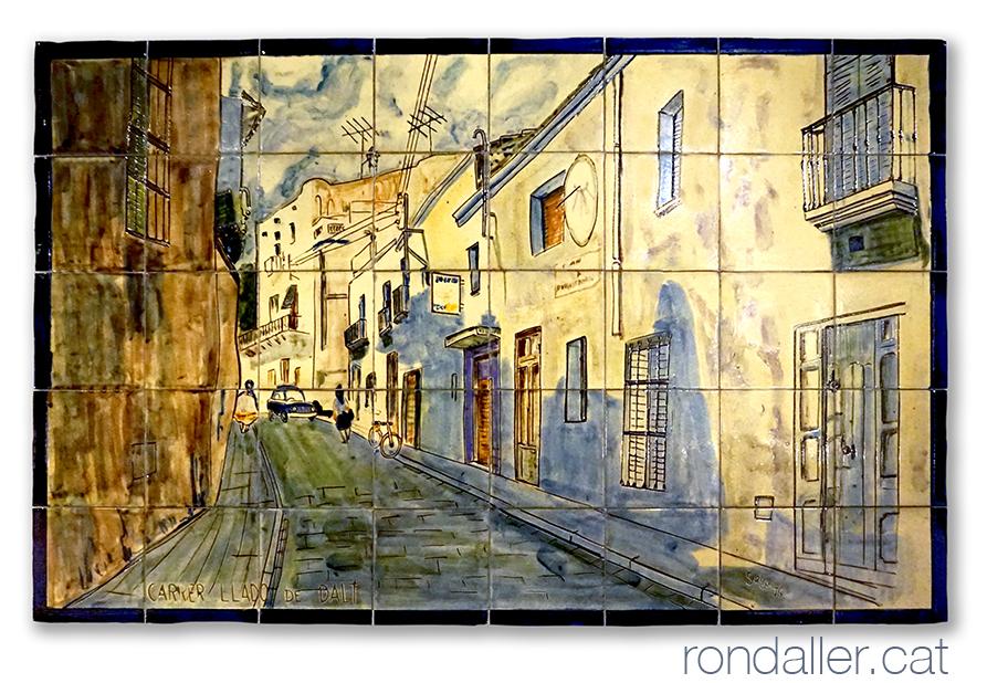 12 llocs d'Argentona. Mural ceràmic amb una vista del carrer Lladó de Dalt.