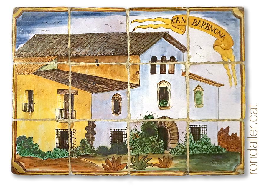12 llocs d'Argentona. Mural ceràmic amb la masia de Can Bramona.