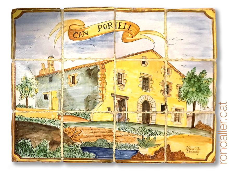 12 indrets d'Argentona. Mural ceràmic amb la desapareguda masia de Can Portell.
