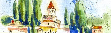 Aquarel·la del recinte funerari La Doma a la Garriga, amb l'església de Sant Esteve.