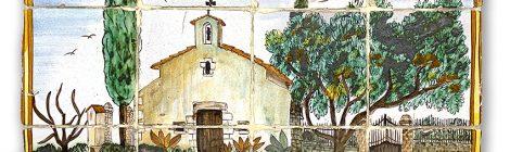 12 indrets d'Argentona. Mural ceràmic amb l'església de Sant Sebastià.