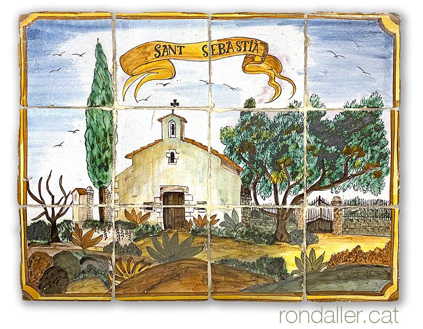 12 llocs d'Argentona. Mural ceràmic amb l'església de Sant Sebastià.
