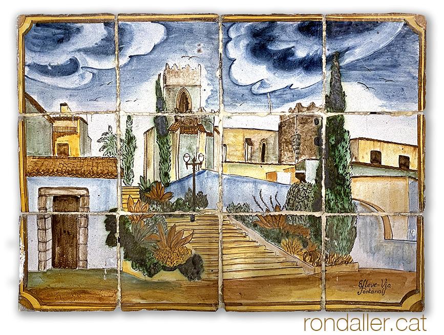 12 indrets d'Argentona. Mural ceràmic amb l'església de Sant Julià.
