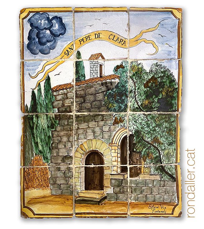 12 llocs d'Argentona. Mural ceràmic amb l'ermita de Sant Pere de Clarà.