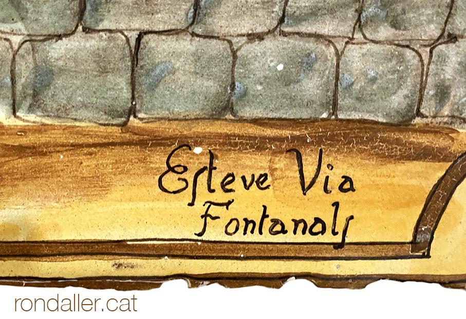 Signatura dels ceramistes Esteve Via Fontanals en un mural ceràmic de Can Calopa a Argentona.