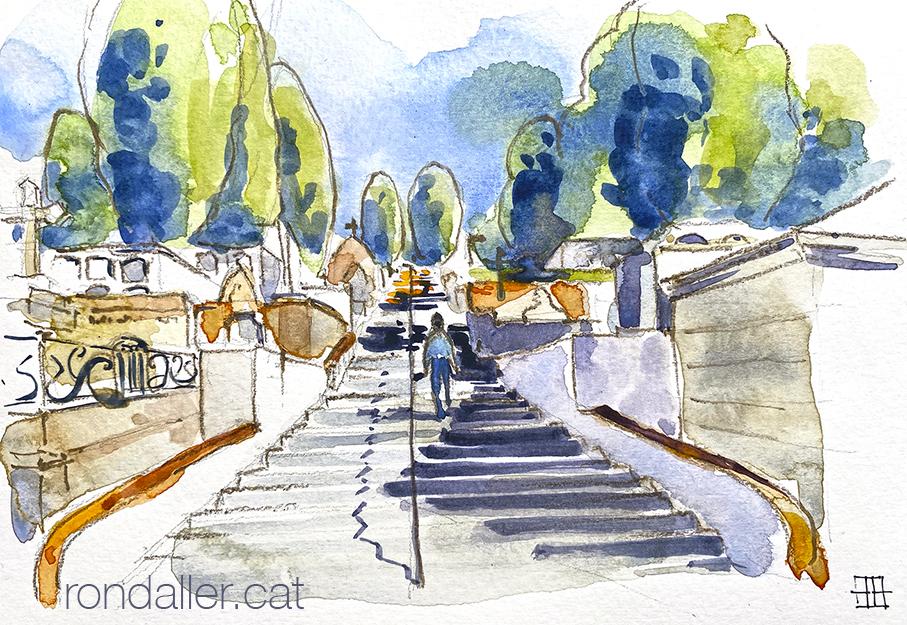 Aquarel·la de l'escalinata central del cementiri dels Caputxins de Mataró.