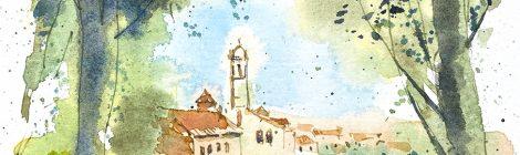 Aquarel·la de Moià amb el campanar de l'església de Santa Maria.