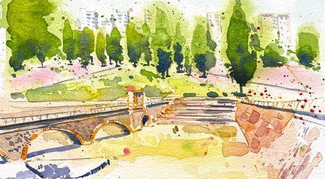 Aquarel·la del Parc Central del districte de Nous Barris a Barcelona.