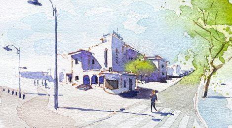 Aquarel·la de l'edifici art déco de la biblioteca de Quart de Poblet a l'Horta Oest de València.