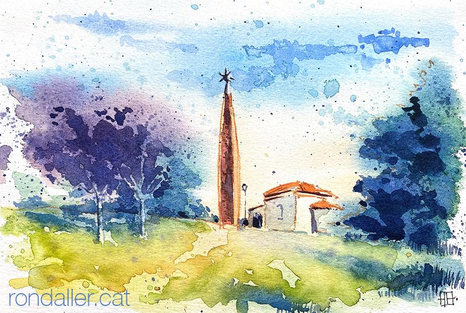 Aquarel·la de l'església de la Mare de Déu del Puig de Sant Celoni (Vallès Oriental).