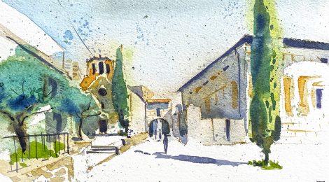 Aquarel·la de l'església de Santa Eulàlia de Vilapicina, al barri del Turó de la Peira, dins el districte de Nou Barris.