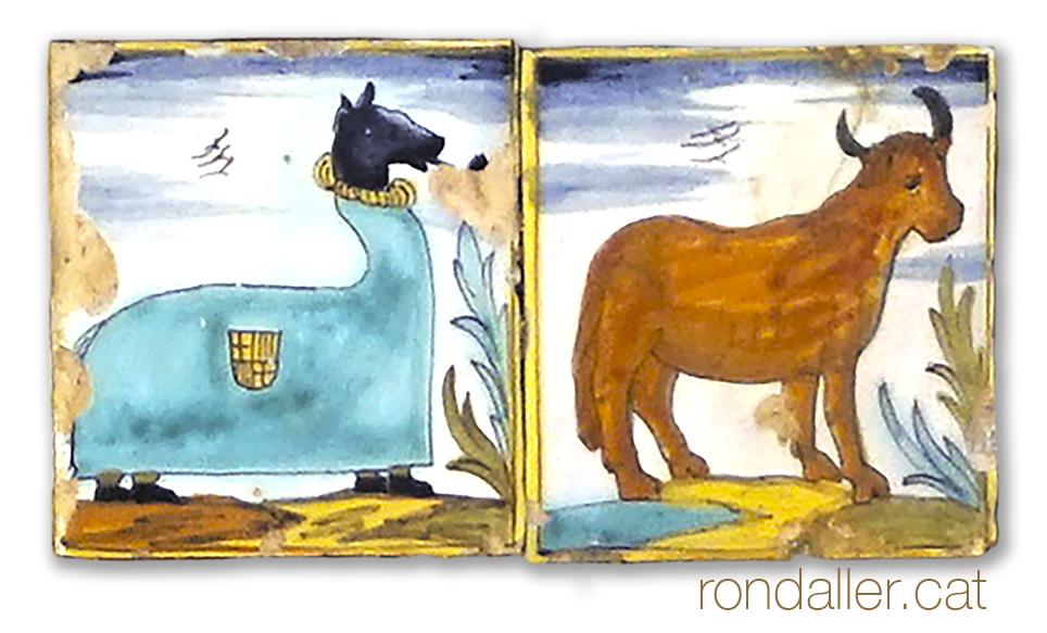 Rajoles d'oficis amb la mulassa i el bou.