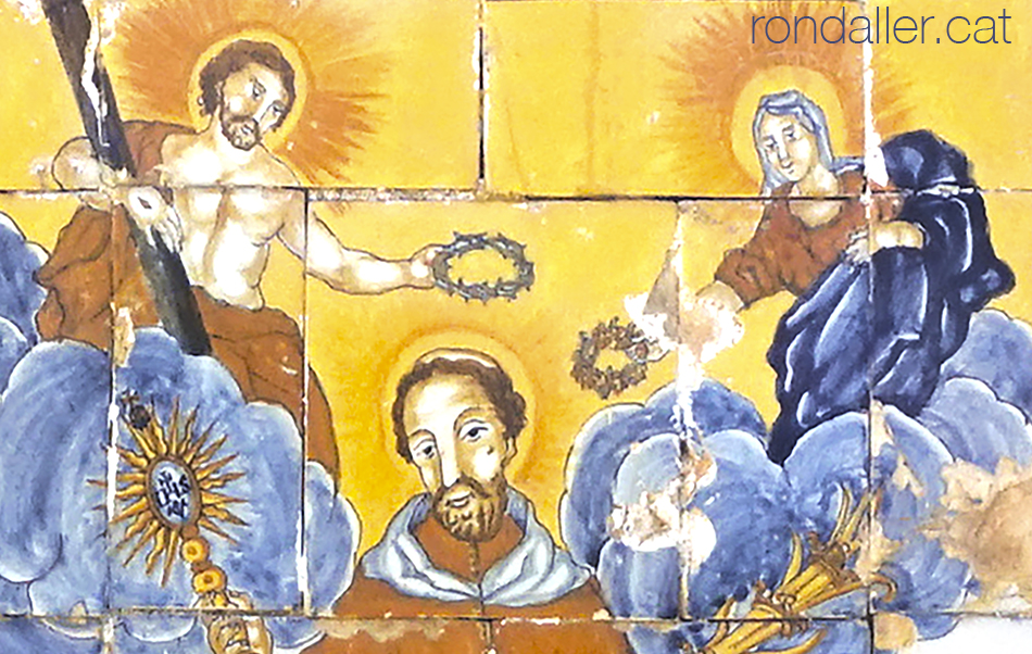 Can Dalmases a Cabrera de Mar. Detall del plafó ceràmic de Sant Ramon Nonat.