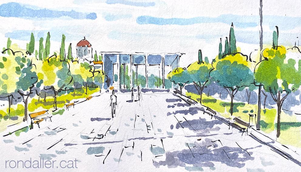 Aquarel·la de l'entrada principal del Primer Cementiri d'Atenes.