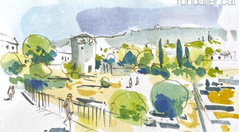 Aquarel·la amb una panoràmica de l'àgora d'Atenes, amb la Torre dels Vents.