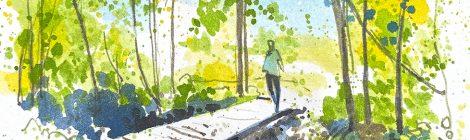 Aquarel·la d'una passarel·la damunt la riera de Vallforners, al terme de Cànoves.