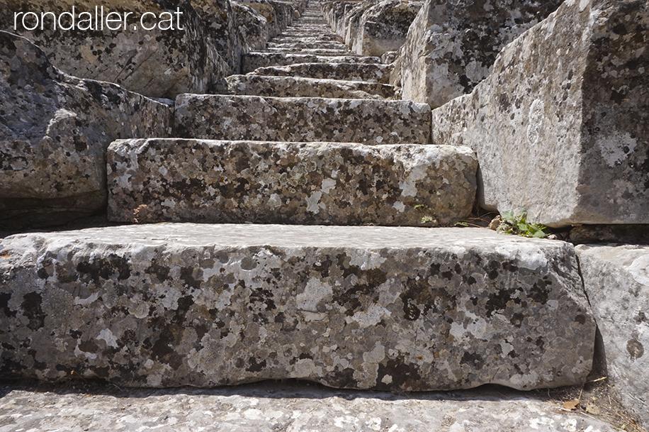Escala de pedra de l'antic teatre grec d'Epidaure.