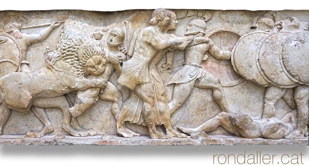 9 indrets del Peloponès. Fris amb un relleu al museu de Delfos.