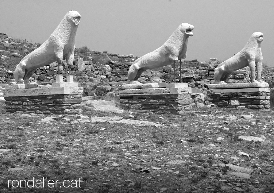 Escultures de lleons al jaciment de l'illa de Delos.
