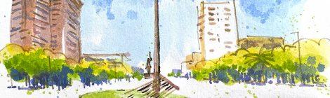 Aquarel·la del monument a la República a la plaça de Llucmajor.
