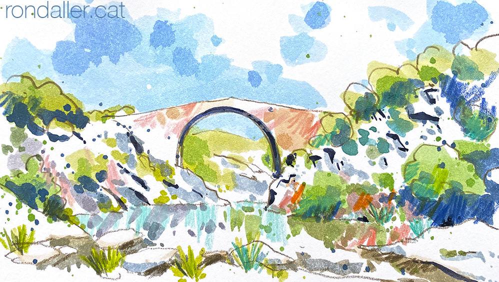 Aquarel·la de pont romànic de Llierca a l'Alta Garrotxa.